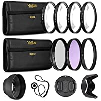 55mm UltraPro Professional Filter Bundle for Lenses with a 55mm Filter Size - Includes 7 Filters (UV, CPL, FL-D, +1, +2, +4, +10 Macro Close-Up Filters), Lens Hoods, & More