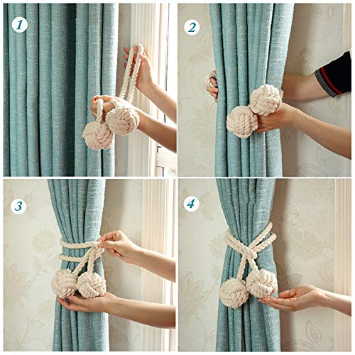 YIDIE 4 Pieces Cotton Rope Holdbacks Hand Knitting Window Curtain Tiebacks for Blackout Curtains, Grey by YIDIE (Image #3)