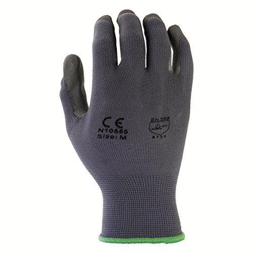 Azusa Safety N10559 13 Gauge Seamless Knit Nylon Safety Gloves, Polyurethane PU Coated, Medium, Gray (Pack of 12 Pairs)
