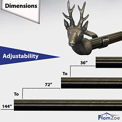 Adjustable Brackets 1-1//8 inch Diameter with Classic Deer Finials Design Set with Extendable Pipe HOMZOE Curtain Rod Drapery Windows 72 to 144 Plated Brass Finish