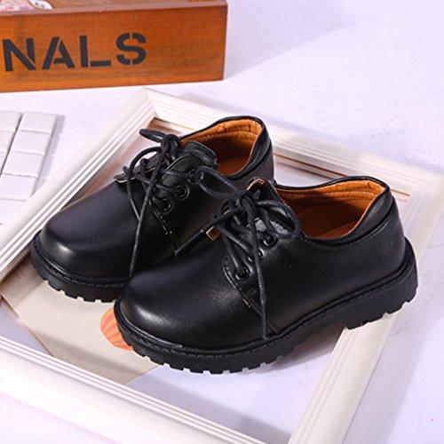 Noirs 4201 L'école De 18062606 Formelles Des Unisexe Hibote Enfants Oxford Habillées Chaussures Garçon Noires Lacets 1F6Zq