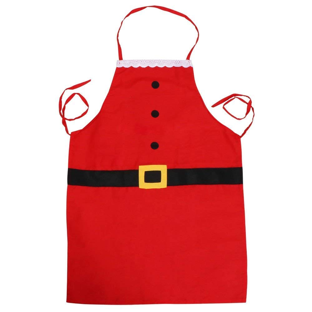 Christmas Santa Claus Style Apron, NXET Holiday Women Cute Ruffle Apron for Cooking, Baking, Crafting, Gardening, BBQ (for Adult)