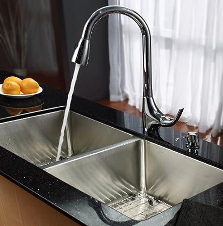 Kraus kpf-1621-ksd-30ch sola palanca Tire hacia abajo grifo de la cocina y dispensador de jabón, color cromado: Amazon.es: Bricolaje y herramientas