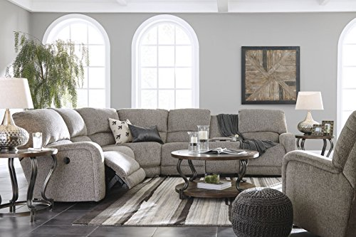 Signature Design by Ashley 1790101 Pittsfield Left Arm Facing Power Reclining Loveseat w/Console, Fossil