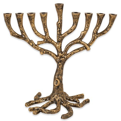 Tree Of Life Menorah Rustic Gold Finish For Hanukkah
