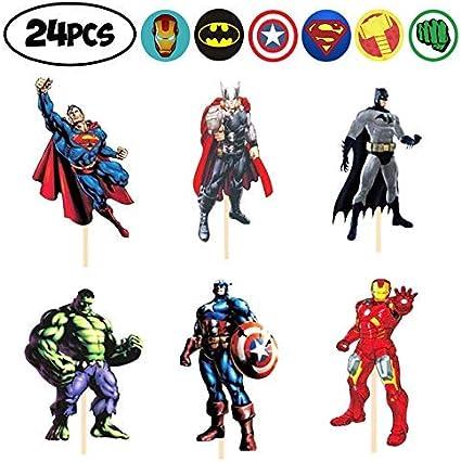 Amazon.com: 24 decoraciones para cupcakes de superhéroes de ...