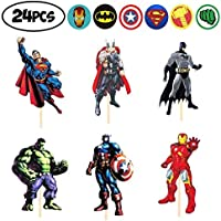 24 PCS Avengers Toppers - Superheroes Cupcake Topper - Children Party Decoration - Hero Party Supplies