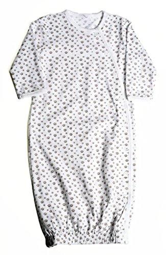 Tamiko Organic Cotton Sleep Gown with Paw print pattern, White
