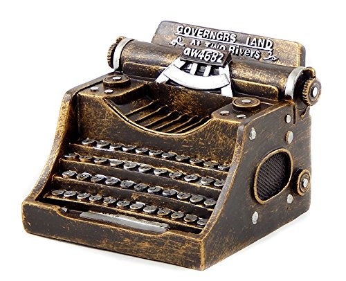 Bellaa 25839 Antiques Style Typewriter 5 Inches Money Piggy Bank Money Box Gold