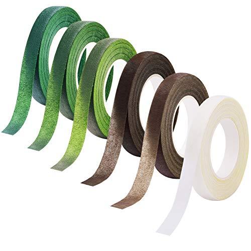Livder 6 Colors Floral Tapes Flower Adhesives Stem Wrap Florist Tape (Dark Green, Green, Grass Green, White, Brown, Light Brown)