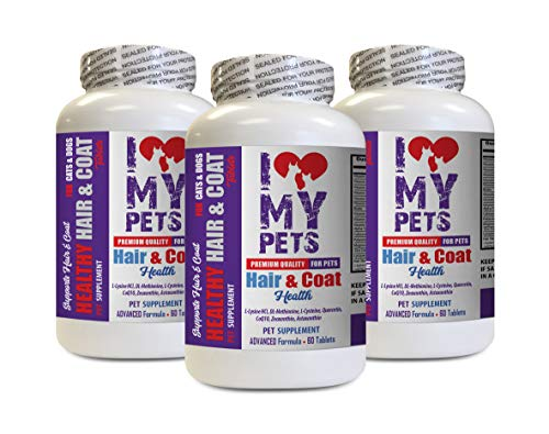 - I LOVE MY PETS LLC Dry Skin cat Skin Care - PET Healthy Hair and Coat - for Dogs and Cats - Premium Formula - cat Vitamin b Supplement - 3 Bottles (180 Treats)