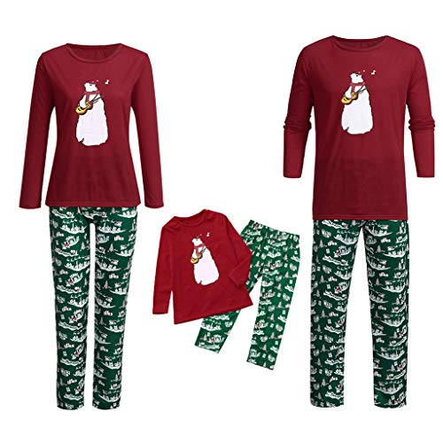 Seaintheson Family Matching Christmas Pajamas Set, 2PC Xmas Tops and Pants Sleepwear Nightwear Homewear Outfits Set