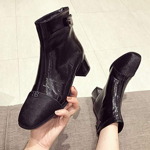 HBDLH Damenschuhe Mode 4Cm 4Cm 4Cm Heel Chelsea Stiefeln Dicken Absätzen 100 Sätze Martin Stiefel 209829