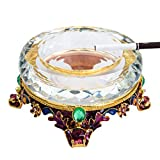 Ashtray Crystal Alloy Ashtray for Living Room Crafts Gifts (Color : White)