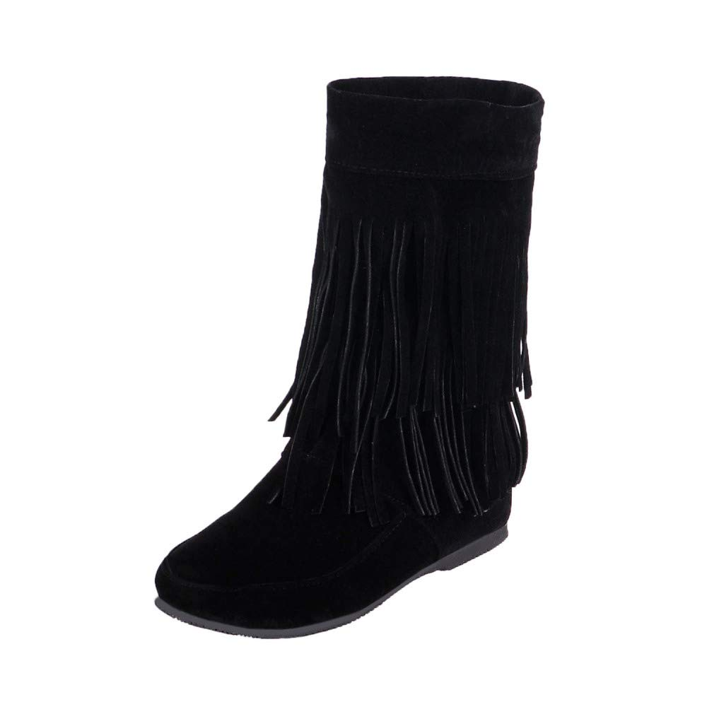 QINGMM Frauen Wildleder Fransen Stiefel 2018 Herbst Flache Mode Stiefelies Schwarz 37 EU