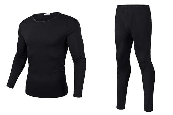 81809019114 Hawiton Men's Thermal Underwear Long John Set Base Layer Sleep Lounge Top &  Bottom Black