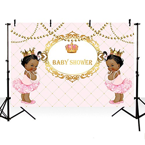 MEHOFOTO Pink and Gold Photo Studio Booth Background Crown Princess Girl Twins Baby Shower Party Decoration Banner Backdrops Props for Photography 7x5ft -