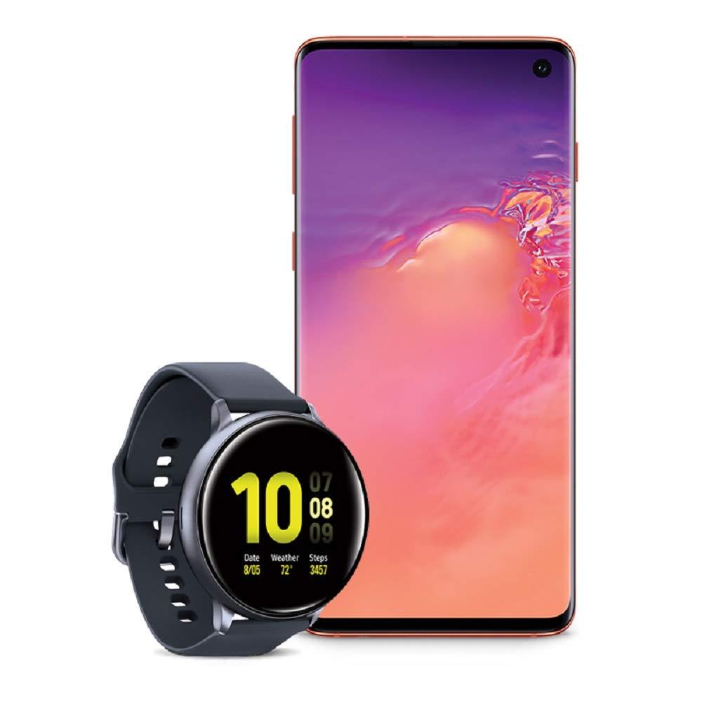 Samsung Galaxy S10 Factory Unlocked Phone with 128GB (U.S. Warranty), Flamingo Pink w/Samsung Galaxy Watch Active2 (44mm), Aqua Black - US Version with Warranty