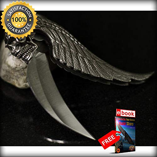 7'' SILVER Razor Sharp Blade SKULL WING DESIGN TACTICAL FOLDING POCKET KNIFE Combat Tactical Knife + eBOOK by Moon Knives