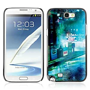 CaseLord Carcasa Funda Case - Samsung Galaxy Note 2 II / Dark Sci Fi City Photo /