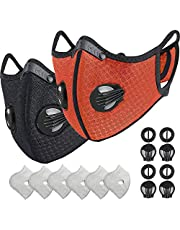 HONYAO Dust Mask Dustproof Mask Activated Carbon with Extra Filter Cotton Sheet and Valves for Pollen Allergy, Woodworking, Mowing, PM2.5, Running, Cycling, Outdoor Activities(Black+Orange)