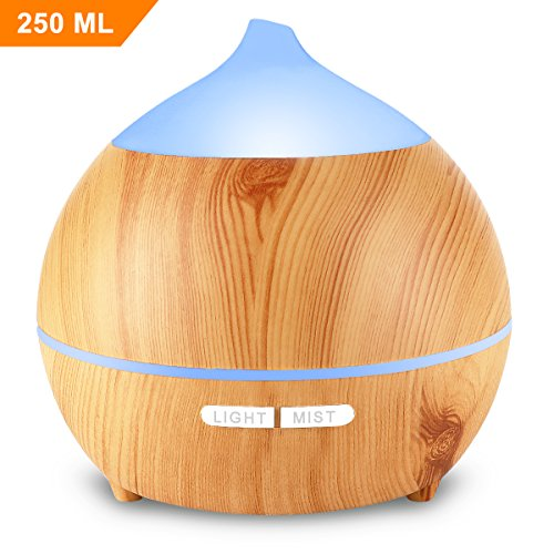 Mulcolor Aromatherapy Essential Oil Diffuser, 250ml Ultrasonic Diffuser for Essential Oils, Cool Mist Aroma Diffuser Humidifier, Waterless Auto Shut-off, 7 Colored LED Lights, Adjustable MIST Mode