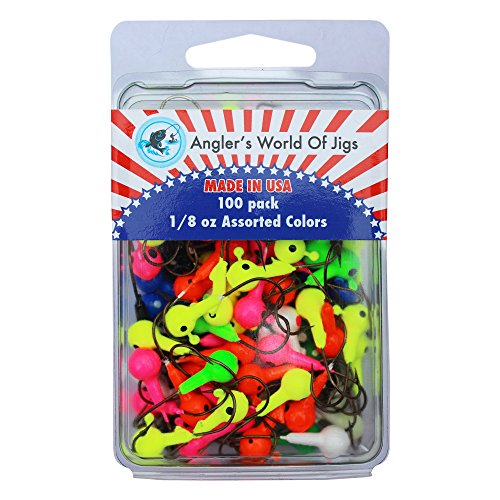 Angler's World of Jigs - Round Freshwater Fishing Jig Heads - Bright Assorted Colors - Two Tone Glow (1/8 oz Assorted Colors, 100 Pack) ()