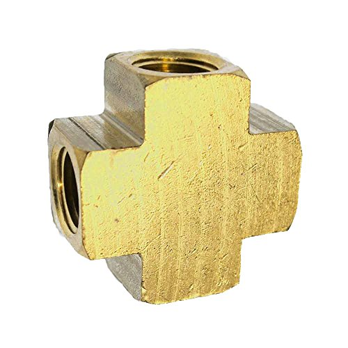 Interstate Pneumatics FP44X Brass Cross Fitting - 1/4 Inch NPT With 4 Connection Ports