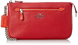 COACH Women's Color Block Nolita 24 Wristlet Sv/True Red/Orange Clutch