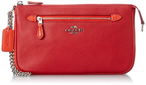 COACH Women's Color Block Nolita 24 Wristlet Sv/True Red/Orange Clutch