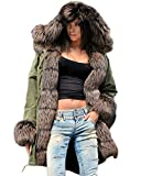 Roiii Women Amry Winter Warm Thick Brown Shade Faux Fur Coat Outdoor Hooded Parka Trench Jacket Plus Size S-3XL (Medium, AmryGreen)