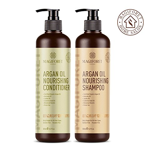 Argan Oil Shampoo and Conditioner Set (2 x 16.9 Oz) - MagiForet Organic Shampoo & Conditioner Sulfate Free - Volumizing & Moisturizing, Gentle on Curly & Color Treated Hair,For Men & Women (Conditioner Volumizing Very)