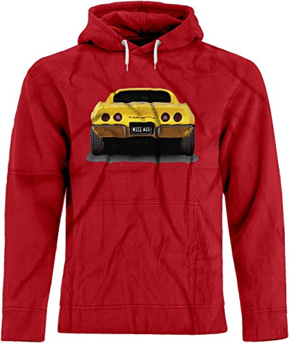 BSW Men's Nice Ass Chevy Corevette ZL1 Muscle Car Premium Hoodie XS Red (Fat Tire Hoodie compare prices)