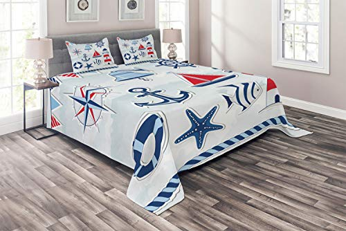 Lunarable Nautical Coverlet Set Queen Size, Bell Summertime Theme Icons Starfish Flags Holidays Traveling Exotic Beach, 3 Piece Decorative Quilted Bedspread Set with 2 Pillow Shams, Blue Red White