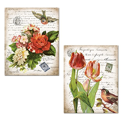 Lovely French Song Birds and Beautiful Flower Set On Script Background; Floral Decor ;Two 11x14in Paper Poster (Beautiful French Poster)