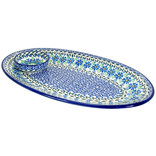 Polish Pottery 15'' Handmade Oval Serving Platter 205-B88-Daisy Dance