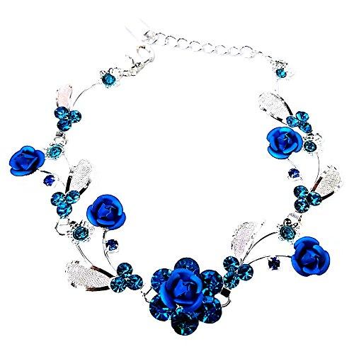 Faceted Metal Rhinestone - Faceted Metal Rose & Crystal Rhinestone Mesh Leaf Bracelet Bridal Prom (Blue)