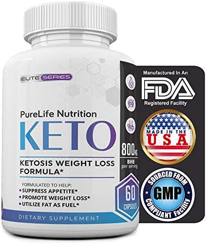 PureLife Keto Weight Loss Supplement: Extra Strength Diet Pills, Appetite Suppressant for Women and Men, Ketosis Weight Loss Pills, Carb Blocker for Ketogenic Diet (800mg BHB Potency)
