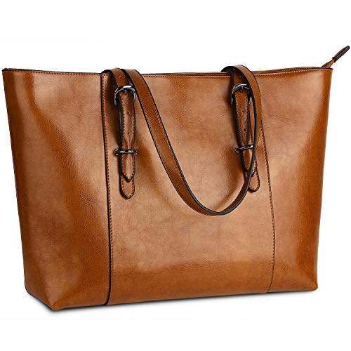 Genuine Leather Womens Laptop Tote Large Bag Fits Up to 15.6 in Vintage Style Soft Leather Work Shoulder Bag from Yaluxe ()