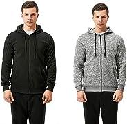 TEXFIT 2-Pack Full Zip Hoodies for Men, Fleece Zip Hooded Sweatshirt (2pcs Set)
