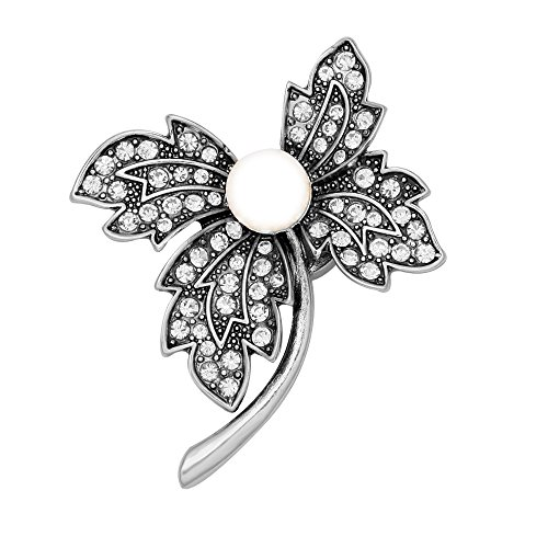 Autumn Leaves Magnets - SENFAI 4 Crystal Leaf Simulated Pearl Magnetic Collar Brooch (Antique silver)