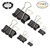 Binder Clips, 120 Pcs 6 Assorte Size Paper Binder Clips for Notes Letter Black Paper Clip Office Supplies,(XXL Large, Extra Large,Large,Medium, Small, X-Small)
