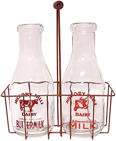Small Vintage Milk Bottles with Carrier for Home Decor Accents