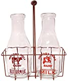 """CWI Gifts Large Vintage Milk Bottles with Carrier, 12"""" x 9.5"""""""