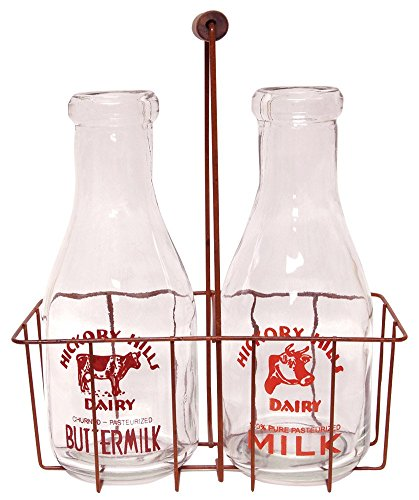 Large Vintage Milk Bottles with Carrier