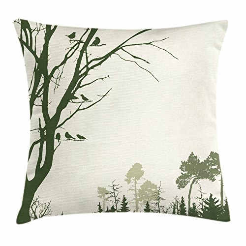 ow Pillow Cushion Cover, Nature Theme The Panorama of a Forest Pattern Birds on Tree Branches Print, Decorative Square Accent Pillow Case, 20 X 20 Inches, Olive Green Cream ()