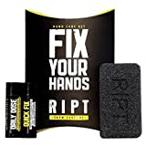 RIPT 3-Phase Hand Care Kit - Fix Ripped Hands, Callus Treatment, Damaged Skin Repair - 2x Moisturizing Hand Balms & Exfoliating Synthetic Pumice Grindstone - Prevents & Fixes Ripped, Callused Hands …