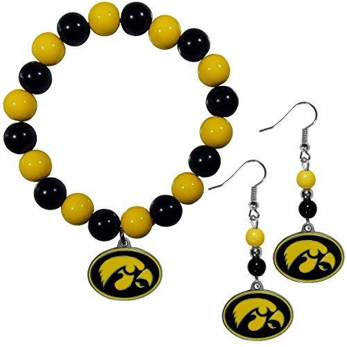 Siskiyou NCAA Iowa Hawkeyes Fan Bead Earrings & Bracelet Set ()