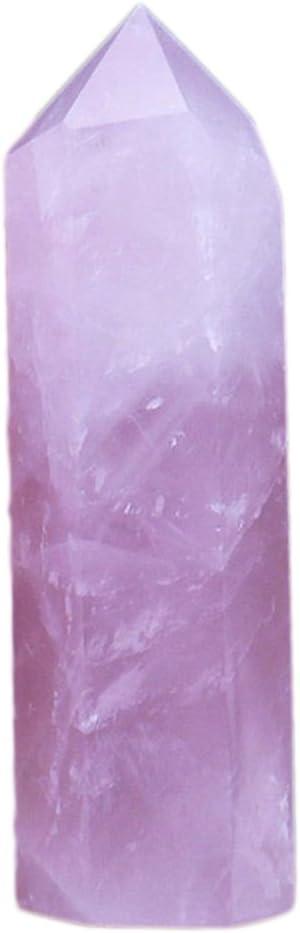 Yunhigh Varita de Cristal de Cuarzo Rosa sin procesar fluorita Natural Punto de Piedra facetas Reiki Chakra Piedras curativas Terapia de meditación Rocas estatuilla Amuleto de protección