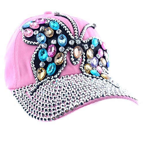 Elonmo Cute Big Butterfly Baseball Cap Jewel Rhinestone Bling Hats Jeans Wash Denim (Pink)
